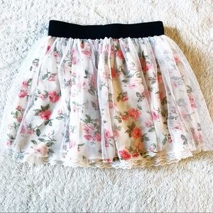 Rose Print Tulle & Lace Trim Skirt